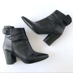 Banana Republic Black Leather Mid Ankle Booties
